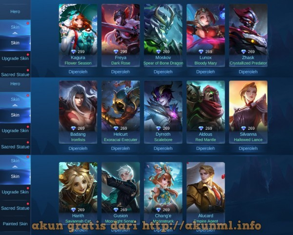 Akun Sultan Gratis Plus Skin EPIC Limited